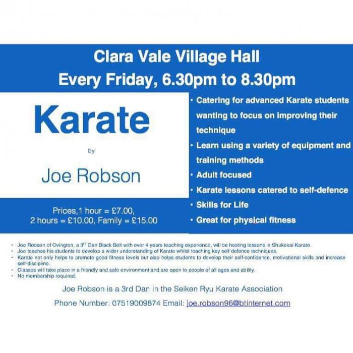 Poster advertising the Karate sessions