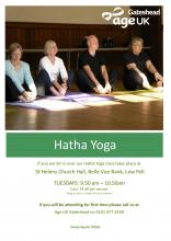 Hatha Yoga for Older People at St Helen's Church Hall, Low Fell
